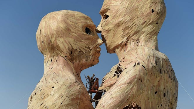 The iconic Burning Man Embrace sculpture was created at the Generator last year.
