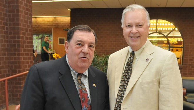 Delegate Norm Conway, left, is shown with T. Jan Wiseman, executive director of the Greater Salisbury Committee at the Fran Kane Reception held at the Fireside Lounge at Salisbury University for his retirement.