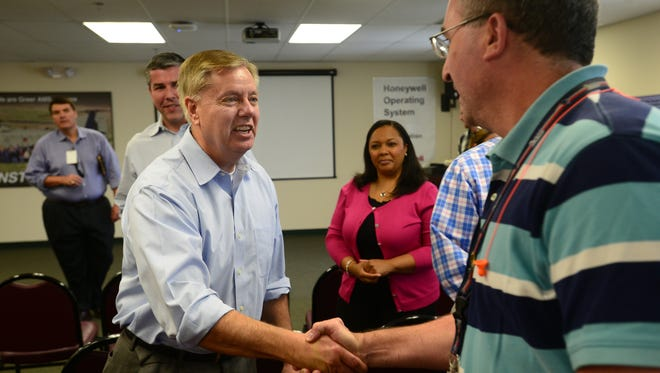 In this file photo, Sen. Lindsey Graham speaks to employees of Honeywell's Greer Aftermarket Services facility on Monday, June 11, 2015.