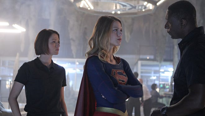 "Chyler Leigh, left, Melissa Benoist and David Harewood star in CBS' ""Supergirl."""