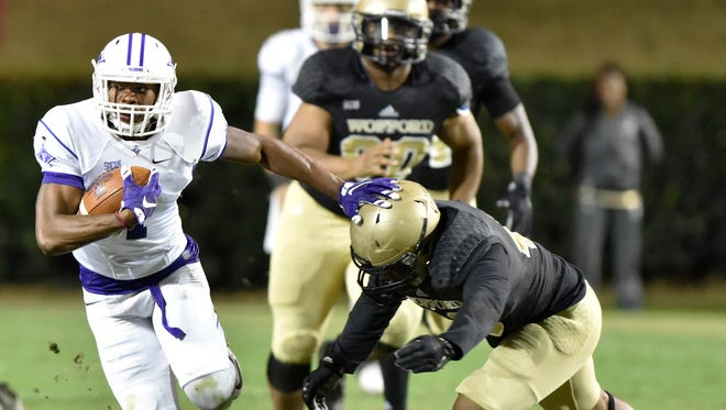 Furman senior wide receiver Jordan Snellings had four catches for 102 yards in the Paladins' 38-28 loss at Wofford Saturday.