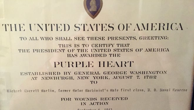 The certificate that accompanied Richard Martin's Purple Heart, earned in North Africa during World War II.