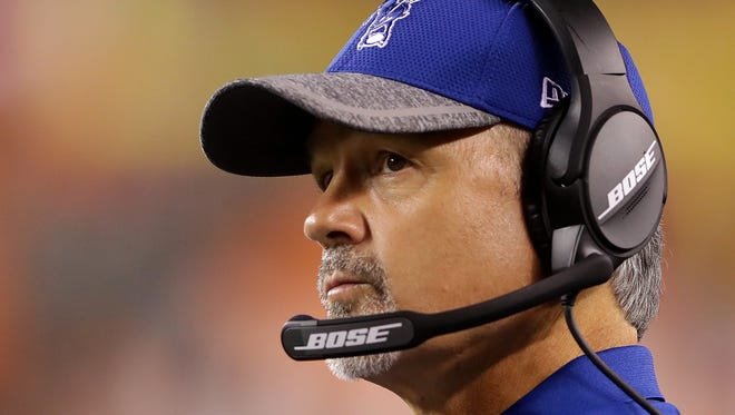 Indianapolis Colts head coach Chuck Pagano looks up at the scoreboard late in the second half of the game against the Cincinnati Bengals at Paul Brown Stadium on Thursday, September 1, 2016.