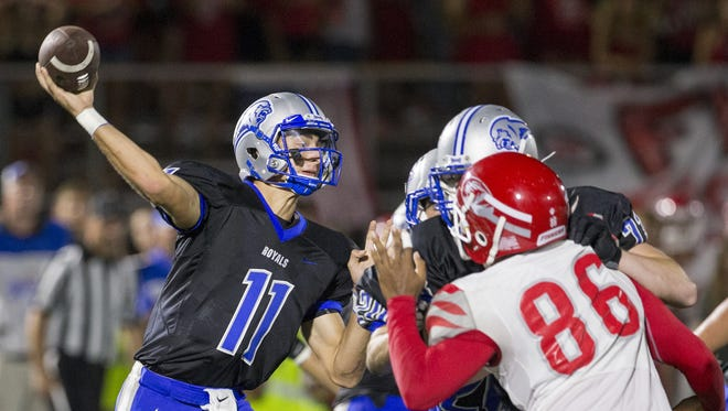 Adam Mullett throws for HSE, Fishers High School at Hamilton Southeastern High School football, Friday, Sept. 9, 2016. The game was tied 30-30 at the end of overtime.