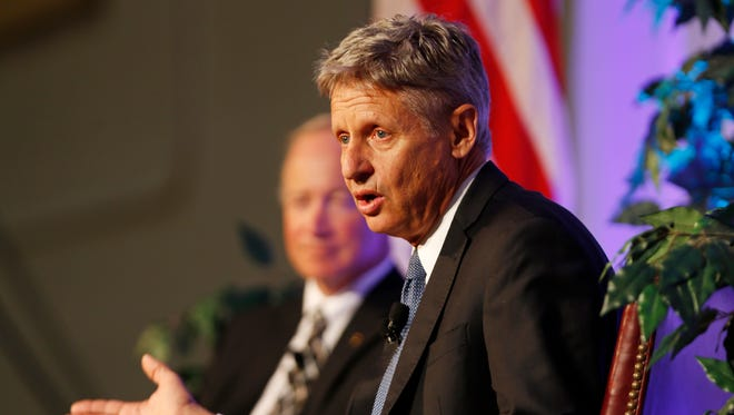 Libertarian Presidential Candidate Gary Johnson addresses the audience as he talks with President Mitch Daniels Tuesday, September 13, 2016, on the campus of Purdue University.