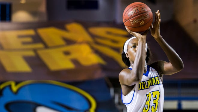 Delaware's Nicole Enabosi shoots a free throw in the second half of Delaware's 67-51 win over George Mason at the Bob Carpenter Center in Newark on Sunday afternoon.