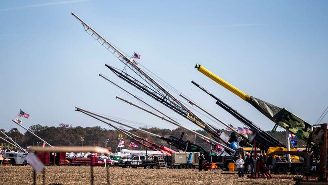 Air cannons are lined up at the World Championship Punkin Chunkin in early November.