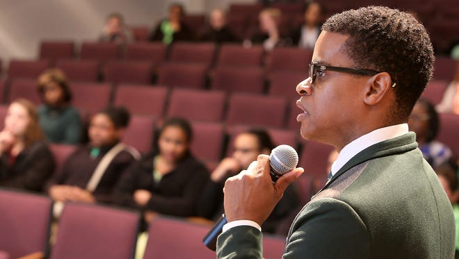 Fayette County Public Schools Superintendent Marlon King speaks Tuesday during a Black History Month program in Ayers Auditorium at the McWherter Center on the campus of Jackson State Community College.