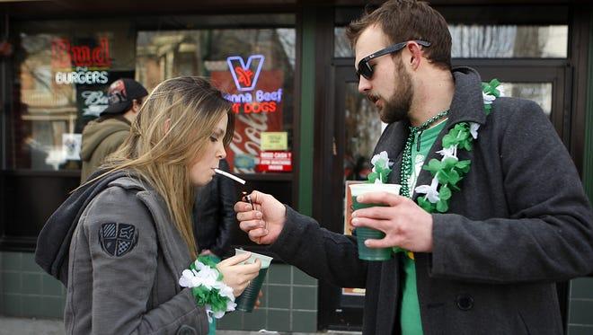 Miami University students celebrate Green Beer Day in Oxford in 2011