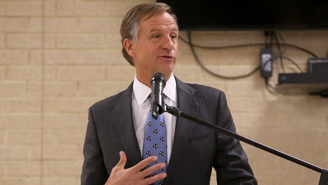 Gov. Bill Haslam answers a question at the Hawkins-Whitby FEMA Community Safe Room in Milan, Tenn., on March 16, 2017.