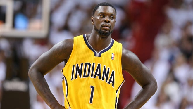 Lance Stephenson (1) takes a breather during Game 6 of the Eastern Conference Finals between the Indiana Pacers and the Miami Heat inside American Airlines Arena, Friday, May 30, 2014, in Miami, Fla.