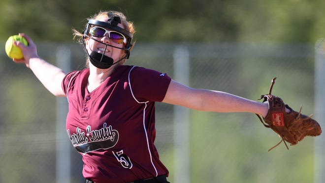 Hardin County's Ashley Channell pitches against Liberty during the first inning at Liberty Tech High School in Jackson, Tenn., on Friday, April 7, 2017.