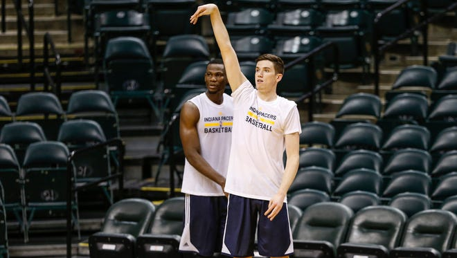 UCLA's T.J. Leaf shoots during a workout for the Indiana Pacers at Bankers Life Fieldhouse on Tuesday, May 23, 2017.