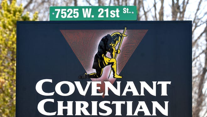 Sign at the entrance at Covenant Christian High School at 7525 W. 21st Street in Indianapolis, March 19, 2013.  Joe Vitti / The Star