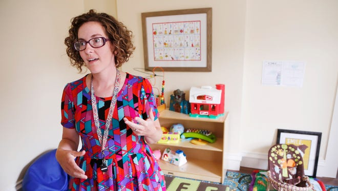 Becky Wellner shows the children's playroom Thursday, August 17, 2017, in the YWCA of Greater Lafayette's Patricia and W. Kelley Carr Advocacy Center, 624 N. Sixth Street in Lafayette. Wellner is director of the YWCA's Domestic Violence Intervention and Prevention Program.
