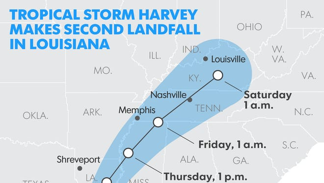 Tropical Storm Harvey makes second landfall in Louisiana. Here is its revised path as of 7 a.m. ET Aug. 30, 2017.