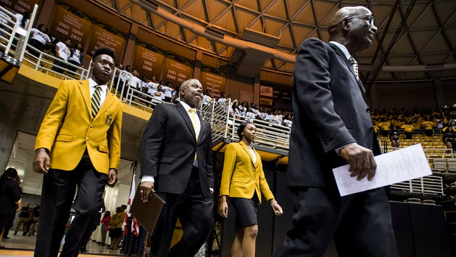 New Alabama State University President Elect Quinton Ross arrives for the Fall Convocation in the Acadome on the ASU campus in Montgomery, Ala. on Tuesday October 2, 2017.