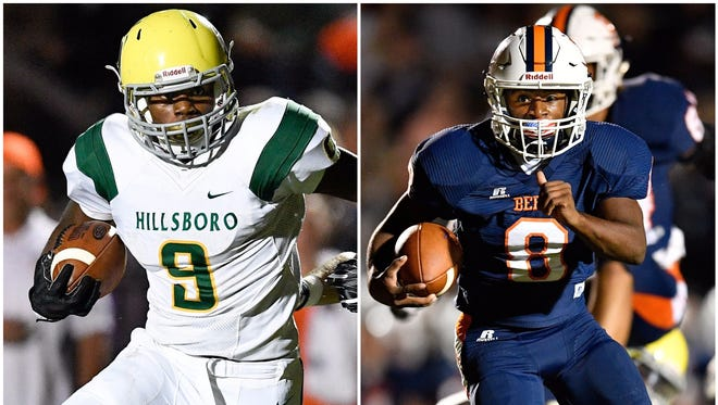 Hillsboro running back Jacob Frazier (left) and Beech running back Kaemon Dunlap (right)