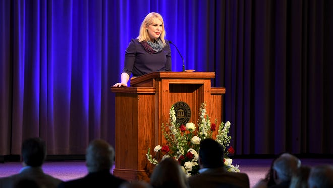 Kimberly Thornbury, who served as the Dean of Students for Union University from 1999-2013, gave testimony, during a special chapel service, Friday, Feb. 2, about the tornado that passed through Jackson and the campus in February 2008.