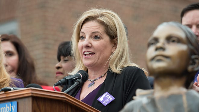 House Majority Leader Valerie Longhurst, D-Bear, speaks during a rally for a Delaware equal rights amendment bill that took place Wednesday on the steps of Legislative Hall in Dover.