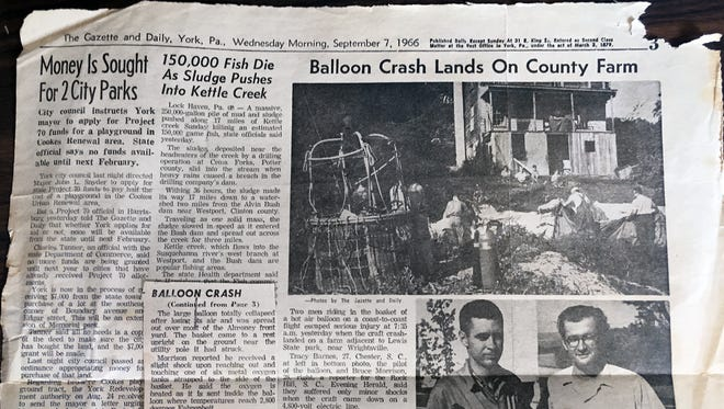 A photocopy of a Gazette and Daily story about a 1966 balloon crash near Wrightsville. Do you remember this incident?