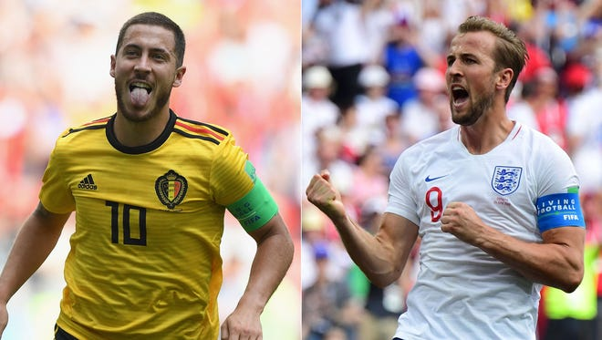 Belgium's Eden Hazard and England's Harry Kane