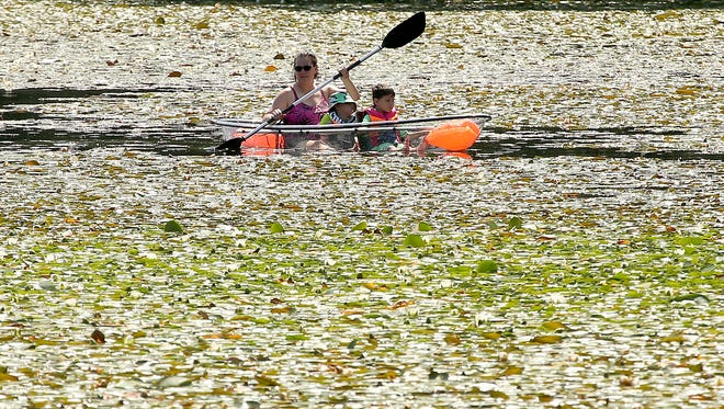 A transparent kayak is paddled through the lily pads at Island Lake on Thursday, July 5, 2018.