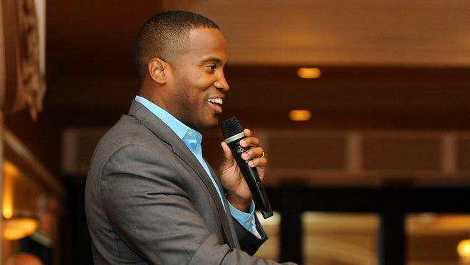 """Republican U.S. Senate candidate John James, a businessman from Farmington Hills, addresses supporters during the """"Macomb for John James"""" event held at Villa Penna banquet hall in Sterling Heights, Mich., Monday, July 16, 2018."""