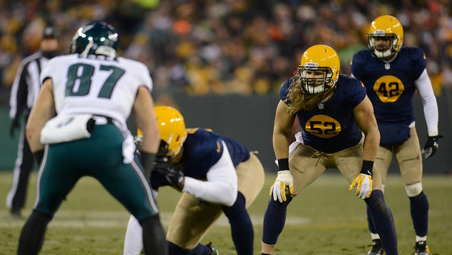 Green Bay Packers linebacker Clay Matthews against the Philadelphia Eagles at Lambeau Field.