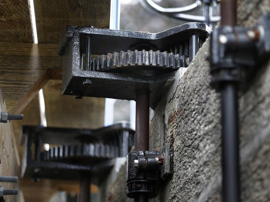 A closer looks shows the details of the Kaukauna Lock No. 3.