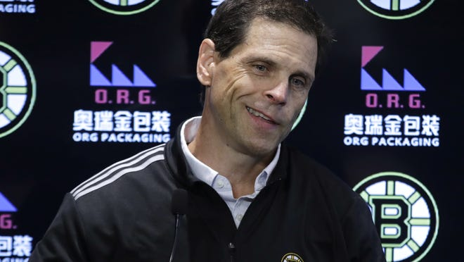Boston Bruins general manager Don Sweeney speaks during a news conference on Sept. 17, 2019, in Boston.