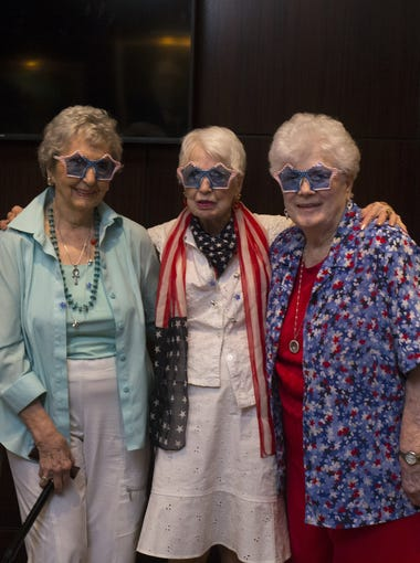 The over 90s lunch bunch, from left: Helene Gay, 95, Wilma Baker, 90, Phyllis Cox, 93, Mary Lou Bennett, 91, and Suzi Wickman, the group founder.