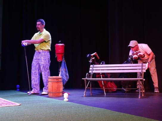 Jeff Wherley and Denny Blanford rehearse a scene from