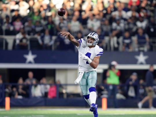 Cowboys QB Dak Prescott has been much better of late since the arrival of WR Amari Cooper.