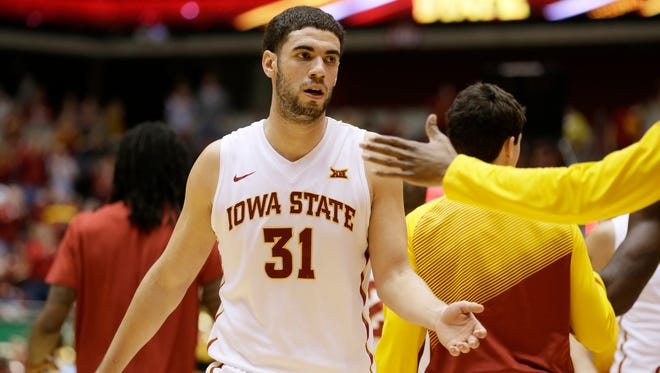 Iowa State forward Georges Niang (31) reacts with teammates at the end of the first half of an NCAA college basketball game against Southern University, Sunday, Dec. 14, 2014, in Ames, Iowa. (AP Photo/Charlie Neibergall)