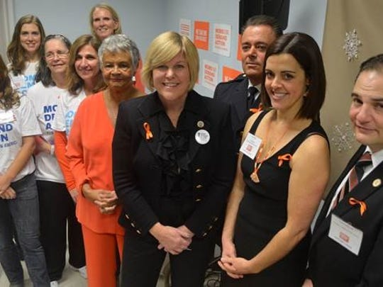 Fanwood Mayor Colleen Mahr, fourth from right, is joined