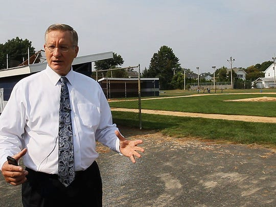Manasquan voters will go to the polls Sept. 29 to vote on a proposed $24 million referendum to upgrade school district facilities. The proposal includes a new football field, new science labs and other improvements. Frank Kasyan, Manasquan Supt, explains the upgrades to the athletic fields  -September 2, 2015-Manasquan, NJ.-Staff photographer/Bob Bielk/Asbury Park Press