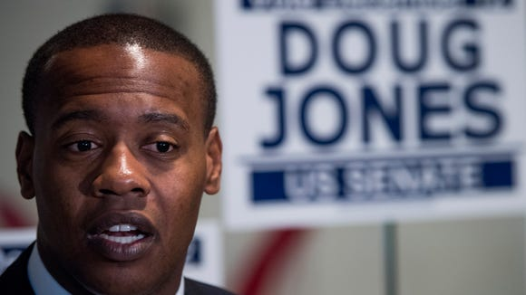 Alabama Rep. Anthony Daniels (D-Madison) speaks about Doug Jones as they visit the Jones campaign call center in Huntsville, Ala. on Thursday December 7, 2017.