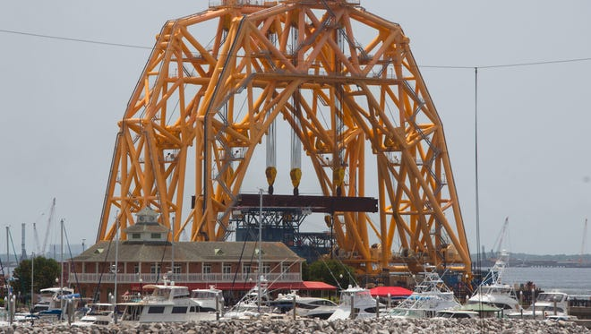 A huge structure is seen at the Port of Pensacola Sunday, June 17, 2018.