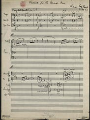 "Aaron Copland's handwritten manuscript of ""Fanfare"
