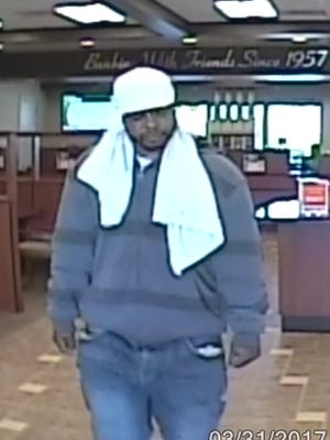 The Collierville police released this photo of a bank robbery suspect.