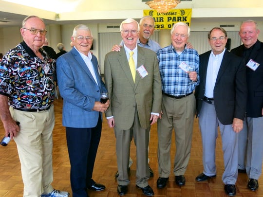 Fair Park Class of 1958 alums gathering together at the Reunion Dinner: Lawrence Waschka, Bob Fisher, Frank Betts, Buck  Bounds, Perry Pringle, Johnny Trigg, U.S. Navy Rear Admiral (Ret.) Jon Coleman.