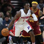 Pistons guard Reggie Jackson drives against Cavaliers guard Mo Williams during the fourth period of the Pistons' 104-99 win Tuesday at the Palace.