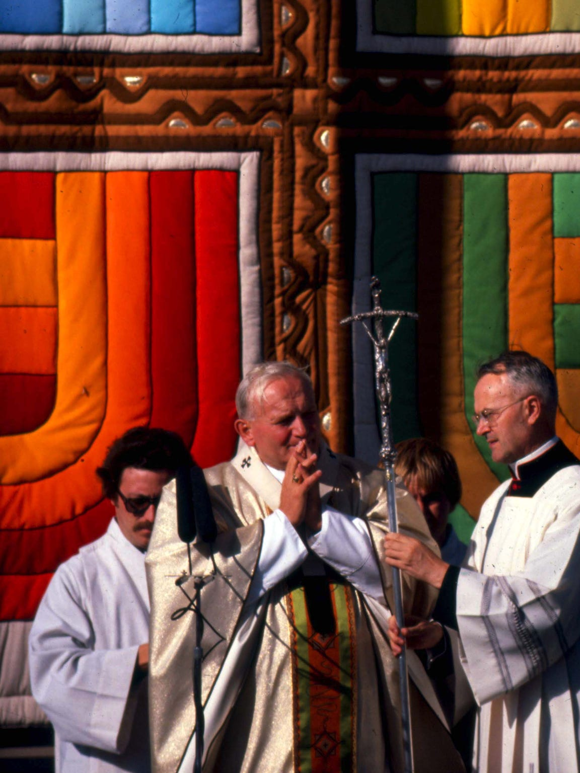 Pope John Paul II holds Mass during a visit to Living History Farms October 4, 1979.