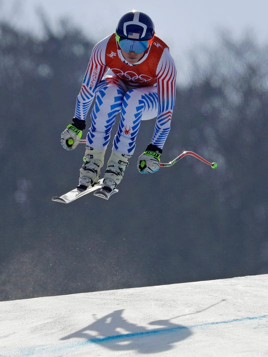 United States' Lindsey Vonn competes in women's downhill training at the 2018 Winter Olympics in Jeongseon, South Korea, Monday, Feb. 19, 2018. (AP Photo/Luca Bruno)