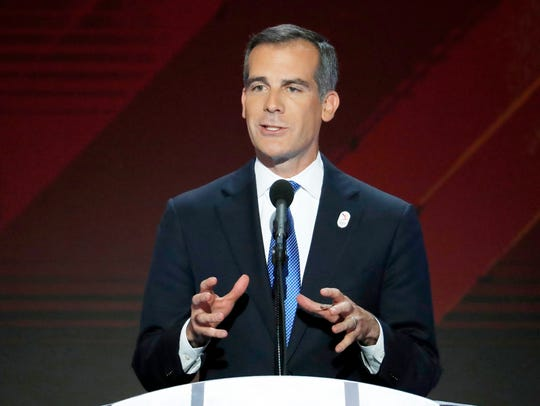 Los Angeles Mayor Eric Garcetti speaks during the final