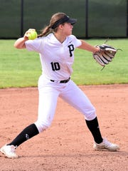 Plymouth shortstop Haley Gagnon makes the throw in