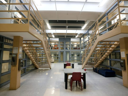 The A pod inside the Greene County Jail is shown in a 2015 photo. The A pod houses the most violent and serious offenders in the jail.