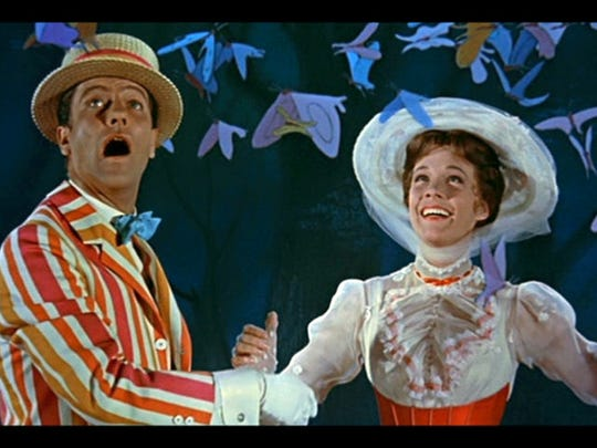 """Dick Van Dyke and Julie Andrews, cavorting and twinkling in """"Mary Poppins"""" (1964)"""
