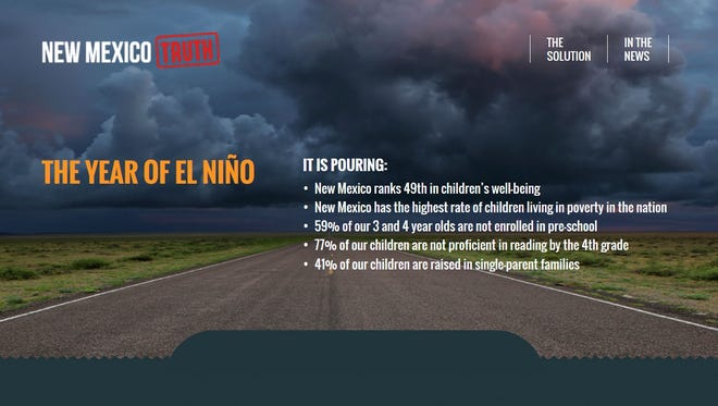 A screenshot of the New Mexico Truth's site newmexicotruth.org. The ad parodies the New Mexico True tourism campaign by highlighting the issue of child poverty in the state.